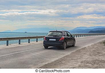 mouvements, voiture, côte, mer, long