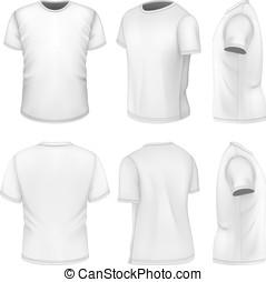 mouw, aanzichten, t-shirt, mannen, witte , kort, zes, alles