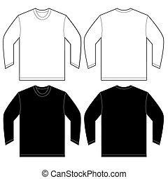 mouw, lang, t-shirt, black , mal, ontwerp, witte