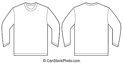 mouw, lang, t-shirt, ontwerp, mal, witte
