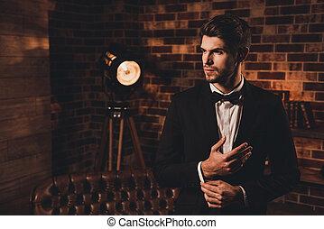 mouwen, mooi, zwarte man, sexy, sluiting, kostuum, knopen