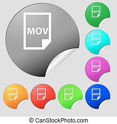 mov, bestand, formaat, pictogram, teken., set, van, acht, multi kleurig, ronde, knopen, stickers., vector