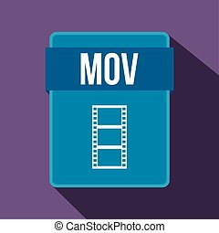 MOV file icon, flat style