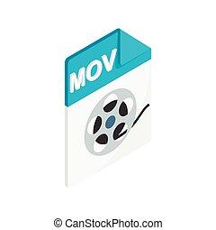 MOV icon, isometric 3d style