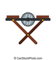 Movable circular saw icon, flat style