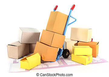 Move - a sack truck and packing boxes on a white background