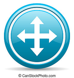 move arrow blue glossy icon on white background