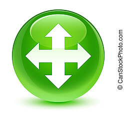 Move icon glassy green round button