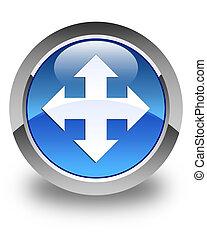 Move icon glossy blue round button