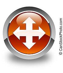 Move icon glossy brown round button