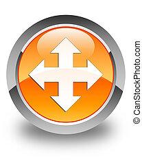 Move icon glossy orange round button