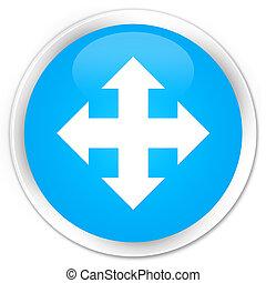 Move icon premium cyan blue round button