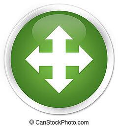Move icon premium soft green round button