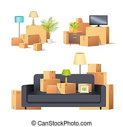 Move in New Apartment Carton Boxes Set Vector