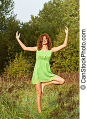 move-se, mulher, ioga, jovem