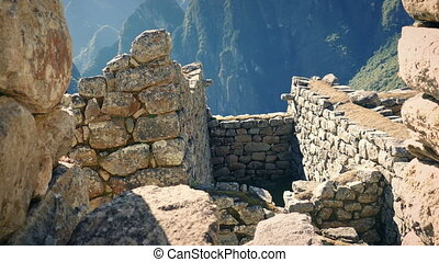 Move Through Ancient Building Ruins In The Mountains -...