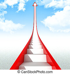 move up - stair inside of red 3d arrow move up