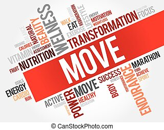 MOVE word cloud, fitness