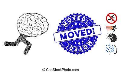moved!, hjärna, collage, stämpla ikon, strukturerad, spring