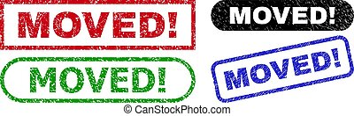 MOVED! grunge seal stamps. Flat vector scratched seal stamps with MOVED! message inside different rectangle and rounded forms, in blue, red, green, black color versions.