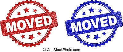 Rosette MOVED seal stamps. Flat vector distress seal stamps with MOVED message inside rosette shape with stars, in blue and red color versions. Imprints with distress texture.