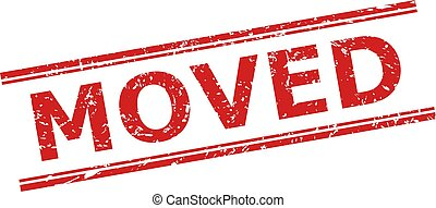 Red MOVED watermark on a white background. Flat vector textured watermark with MOVED message inside double parallel lines. Watermark with grunged texture.