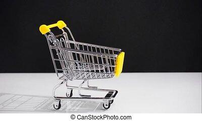 movement., concept, achats, arrêt, vente, charrette, mouvement