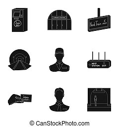 Movement, electric transport and other web icon in black style.Attributes, public, means, icons in set collection.