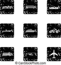 Movement icons set, grunge style