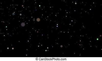 Movement in space of small and large colored balls on a black background HD