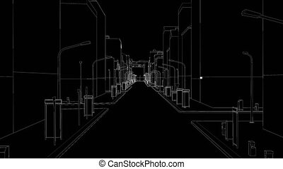 Movement in the drawing of a city