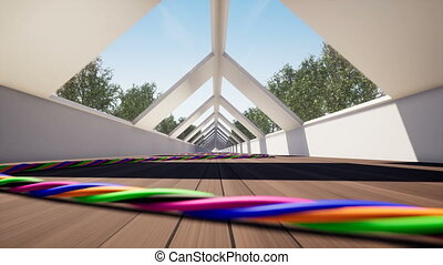 Movement inside a corridor with wires on the floor