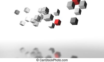 movement of a group of gray and two red cubes as in zero gravity with their reflection as in water graphics design