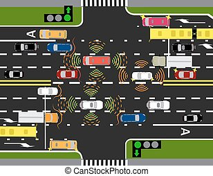 Movement of autonomous smart cars. Scanning roads, interaction. Automatic stops and traffic through the streets of cities. Vector illustration.