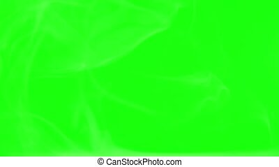 movement of clubs of white smoke on a green screen and black background