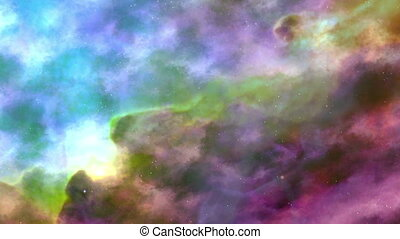 Movement Of Colorful Space Nebula