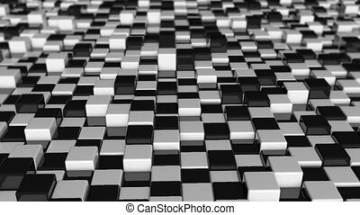 Movement of cubes. Futuristic background with black and...