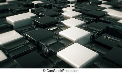 Movement of cubes. Futuristic background with black, white...