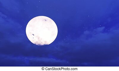 Movement of cumulus clouds on the background of the moon 4k
