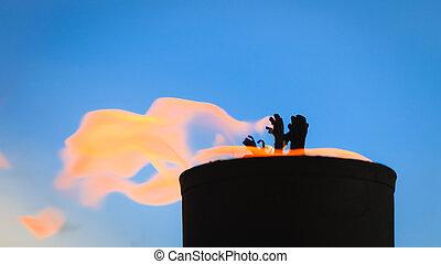 Movement of fire flame vigil  light outdoor