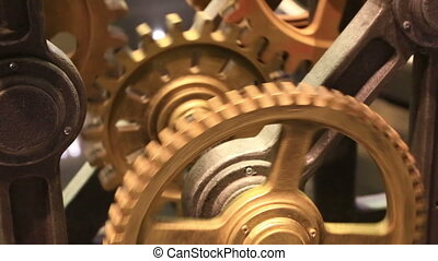 movement of gears in the working clockwork close up