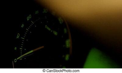 Movement of green car tachometer arrow