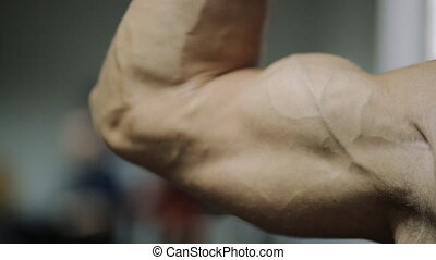 movement of muscles in the arms, on the hand of an adult male athlete, hands when driving without the fat and well developed with beautiful muscles.