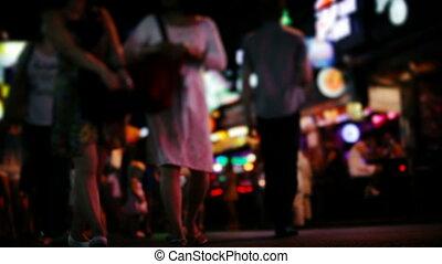 movement of people on night street