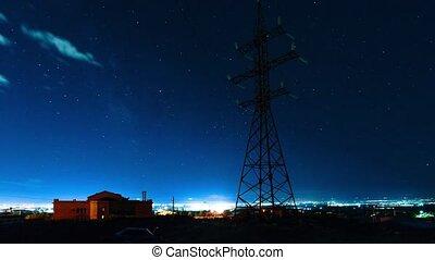 movement of stars in the night sky of Yerevan. Armenia. timelapse video.