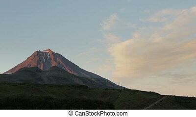 Movement of the clouds around the volcano Vilyuchinsky stock...