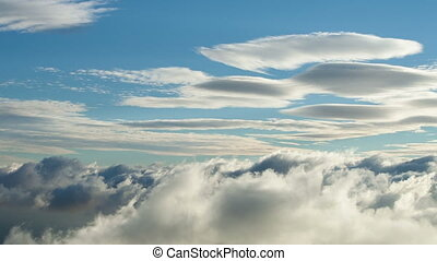 Movement of the clouds in the sky.