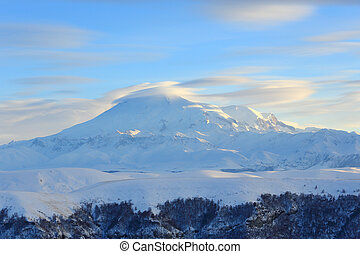 Movement of the clouds on the mountains Elbrus, Northern Caucasus, Russia