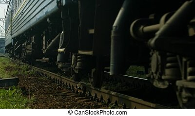 Iron wheels. - Movement of the wheels of the train....
