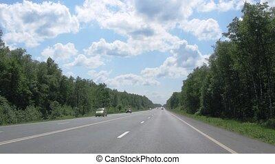 Movement on Russian route M3 (Ukraine Highway or Kievskoe highway) in Russia.